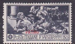 Italy-Colonies And Territories-Aegean-Patmo S 14 1930 Ferrucci 50c Black MH - Aegean (Patmo)