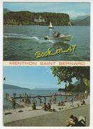 {77287} 74 Haute Savoie Menthon Saint Bernard , Multivues ; Le Roc De Chère Et Le Palace Hôtel, La Plage ; Animée - Otros Municipios