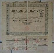 Action Au Porteur - Journal Le Bâtiment - 20 Octobre 1899 - Etat Second : Voir Photo - Actions & Titres