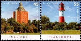 Germany - 2010 - Lighthouses - Neuwerk And Falshoft - Mint Stamp Set - Unused Stamps