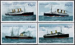 Germany - 2010 - For Youth - German Steam Ships - Mint Stamp Set With Surcharge - [7] Repubblica Federale