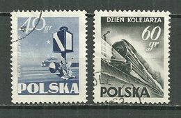 POLAND Oblitéré 763-764 Journée Des Cheminots Trains Train - 1944-.... République