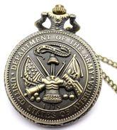 Reloj Ejército Armada De Estados Unidos De Bolsillo Con Cadena. Army - Militares
