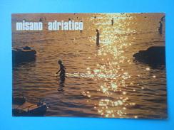 Misano Adriatico - Rimini - Controluce - Mare Bagnanti E Mosconi Al Tramonto - Controluce