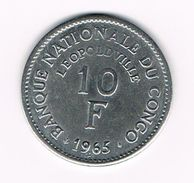 )  CONGO DEM. REP. 10 FRANCS  1965 - Congo (Rép. Démocratique, 1964-70)