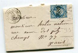 YONNE De ST LAURENT DU SAULT GC 3689 Sur N°22 Sur LAC Du 14/12/1866 - Marcophilie (Lettres)