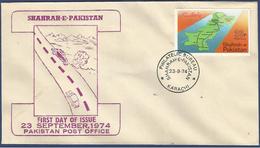 PAKISTAN 1974 MNH FDC FIRST DAY COVER SHAHRAH-E-PAKISTAN, ROAD MAP THROUGH PAKISTAN, HIGHWAY - Pakistan