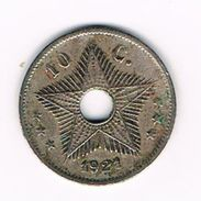 ) CONGO  BELGE  BELGISCH CONGO  10 CENTIMES   ALBERT I   1921 - Congo (Belge) & Ruanda-Urundi