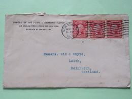 USA 1908 Cover New York To Scotland U.K. - Washington - Strip Of 3) - Brieven En Documenten