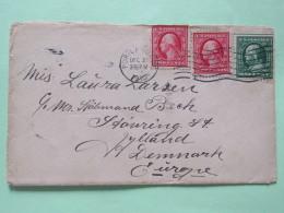 USA 1910 Cover Portland To Denmark - Washington - Franklin (perforated On 2 Sides) - Brieven En Documenten