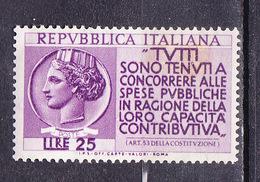 1954 REDDITI CAPACITA´ CONTRIBUTIVA, 25 Lire  NUOVO MNH - 1946-60: Nuovi