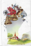 BUONA PASQUA - CAMPANELLE - DISEGNO IN RILIEVO - EDIZ. CECAMI #7268 - VIAGGIATA ANNI 50 -FRANCOBOLLO ASPORTATO - Pasqua