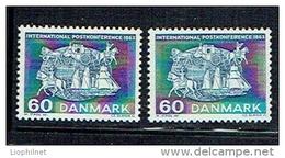 DANEMARK DANMARK 1963, Yvert 427 Et 427a FLUO, CONF. POSTALE DE PARIS, 2 Valeurs, Neufs / Mint. R150 - Nuovi