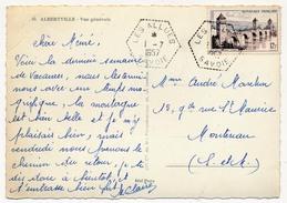 """FRANCE => Cachet Hexagonal Tireté """"LES ALLUES SAVOIE"""" 1957 Sur CPSM D'Albertville - Marcophilie (Lettres)"""