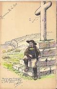Menu Breton Aquarelle à La Main 21 Mai 1924 Lieutenant Le Bot Elle Guérin . Dessin : Breton Et Calvaire - Menu