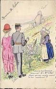 Menu Breton Aquarelle à La Main 21 Mai 1924 Lieut Le Bot Elle Guérin . Dessin : Allégorie Sur La Naissance Des Entants - Menu