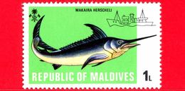 Nuovo - MNH - MALDIVE - 1973 - Barche Da Pesca - Navi - Pesci - Marlin Blu - Makaira Nigricans - 1 - Maldive (1965-...)
