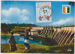 La Cote D´ivoire ,afrique,le Barrage D´ayamé Il Ya 30 Ans,avec Timbre Sur La Carte,vur Sur Les Mamas - Côte-d'Ivoire