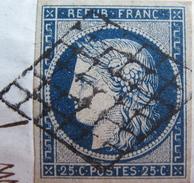 LOT DF/404 - CERES N°4a Bleu Foncé - LUXE - (sur Fragment) GRILLE NOIRE - Cote : 70,00 € SUPERBE - 1849-1850 Cérès