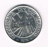 )  SAN MARINO  10 LIRE  1974  F.A.O. - Saint-Marin