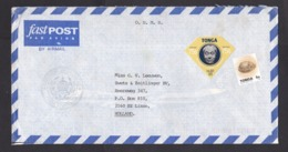 Tonga: Official Airmail Cover To Netherlands, No Cancel, 2 Stamps, Diamond Shape, King, Shell (minor Discolouring) - Tonga (1970-...)