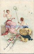 76102 ART ARTE TWO WOMAN WITH NET AND BUTTERFLIES POSTAL POSTCARD - Künstlerkarten