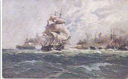 Schulschiff Niobe U. Hohenzollen Im Panzergeschwad 1888 V. Prof Bohrdt  Im Besitz Des Kaisers **5724** - Krieg