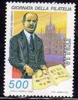 ITALIA REPUBBLICA ITALY REPUBLIC 1987 GIORNATA DELLA FILATELIA STAMP DAY MARCO DE MARCHI LIRE 500 MNH - 6. 1946-.. Repubblica