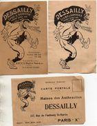 Publicité Dessailly, Charbon Anthracites Paris 10e X 3 Différents Rue Du Faubourg St-Martin - District 10