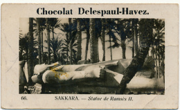 Publicité : Chocolat Delespaul-Havez (Marcq-en-Baroeul), N° 66, Sakkara (Egypte), Statue De Ramsès II, 2 Scans - Chocolat