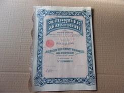 SCHISTES ET DERIVES (100 Francs,categorie B) 1933 - Shareholdings