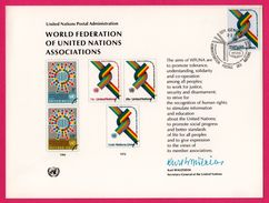 Encart - FDC - World Federation Of United Nations Associations 1976 - Genève - Adminis. Postale Des Nations Unies - Emissions Communes New York/Genève/Vienne