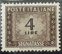 ITALIA REPUBBLICA ITALY REPUBLIC 1947 1954 SEGNATASSE POSTAGE DUE TAXES TASSE LIRE 4 RUOTA WHEEL MNH - 6. 1946-.. Repubblica