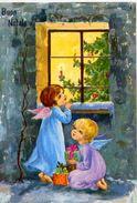 Buon Natale - Bamne Con Regale Vicino Alla Finestra - 67429-03 - Formato Grande Viaggiata – Ar - Natale