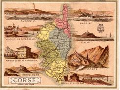 Carton Département De La Corse / 11.5 X 8.7 Cm / Librairie Hachette / Infos Au Verso / 2 Scan - Mapas Geográficas