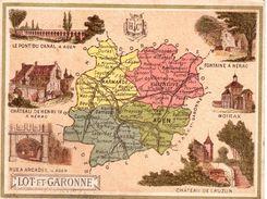 Carton Département De Lot Et Garonne / 11.5 X 8.7 Cm / Librairie Hachette / Infos Au Verso / 2 Scan - Geographical Maps