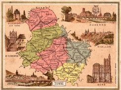 Carton Département De Yonne / 11.5 X 8.7 Cm / Librairie Hachette / Infos Au Verso / 2 Scan - Geographical Maps