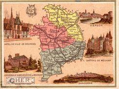 Carton Département Du Cher / 11.5 X 8.7 Cm / Librairie Hachette / Infos Au Verso / 2 Scan - Geographical Maps