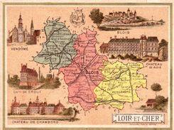 Carton Département Du Loir Et Cher / 11.5 X 8.7 Cm / Librairie Hachette / Infos Au Verso / 2 Scan - Mapas Geográficas
