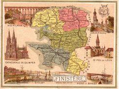 Carton Département Du Finistère / 11.5 X 8.7 Cm / Librairie Hachette / Infos Au Verso / 2 Scan - Mapas Geográficas