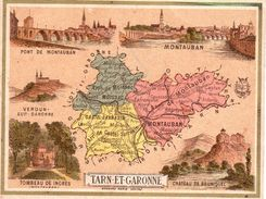 Carton Département Du Tarn Et Garonne / 11.5 X 8.7 Cm / Librairie Hachette / Infos Au Verso / 2 Scan - Mapas Geográficas
