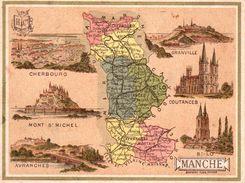 Carton Département De La Manche / 11.5 X 8.7 Cm / Librairie Hachette / Infos Au Verso / 2 Scan - Mapas Geográficas