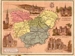 Carte Cartonnée Département De L'Eure / 11.5 X 8.7 Cm / Librairie Hachette / Infos Au Verso / 2 Scan - Mapas Geográficas