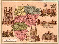Carte Cartonnée Département De L'Aisne / 11.5 X 8.7 Cm / Librairie Hachette / Infos Au Verso / 2 Scan - Mapas Geográficas