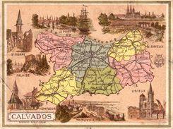 Carte Cartonnée Département Du Calvados / 11.5 X 8.7 Cm / Librairie Hachette / Infos Au Verso / 2 Scan - Geographical Maps