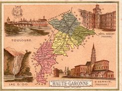 Carte Cartonnée Département De La Haute Garonne / 11.5 X 8.7 Cm / Librairie Hachette / Infos Au Verso / 2 Scan - Geographical Maps
