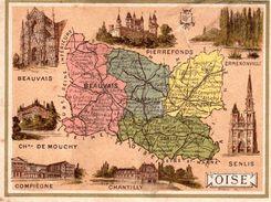 Carte Cartonnée Département L'Oise / 11.5 X 8.7 Cm / Librairie Hachette / Infos Au Verso / 2 Scan - Mapas Geográficas