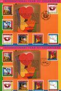 3 Encarts - FDC - International Year Of Volunteers - Mains Et Cœurs - NY Genève Wien - KOFI A. ANNAN - 2001 - Emissions Communes New York/Genève/Vienne