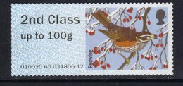 GB 2015 QE2 2nd Class Up To 100 Gm Post & Go Redwing Bird No Gum ( 784 ) - Great Britain