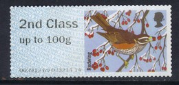 GB 2015 QE2 2nd Class Up To 100 Gm Post & Go Redwing Bird No Gum ( B383 ) - Great Britain